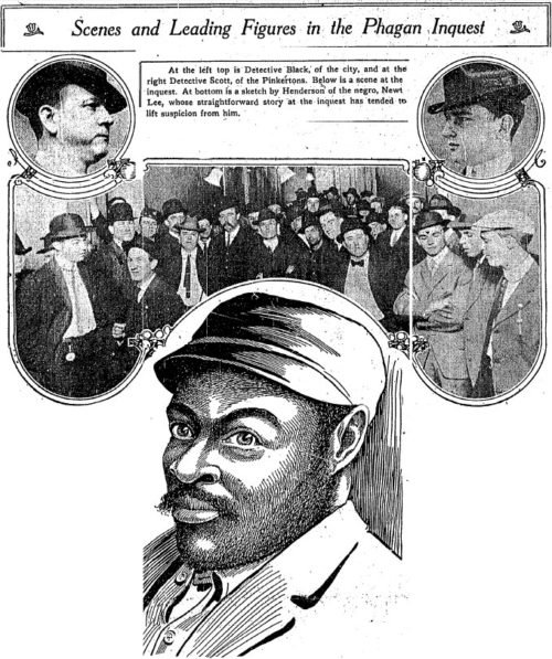 Newt Lee, center. At top left, City Detective Black; top right, Harry Scott, the Pinkerton agent who could not be corrupted