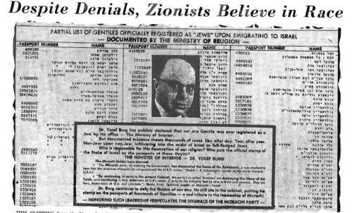 "This clipping from the November 21, 1975, issue of the Jewish Press, which claims to have the largest circulation of any English-language weekly newspaper for Jews, complains that Gentiles are ""infiltrating"" into Israel posing as Jews, thus ""desecrating"" the Jewish state and religion. In the eyes of orthodox Jews, ""goyim"" (Gentiles) are mere cattle, not human beings."