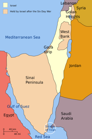 A map depicting the territories gained by the Israeli's in six days during The Six Day War in June, 1967. The Israelis attacked Egypt first, initially claiming that it was actually Egypt who attacked them first. The area that Israel held more than doubled, as well as placing themselves in control of more than 1 million Palestinians.