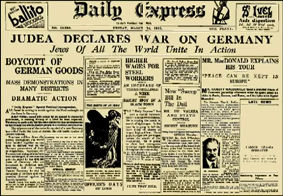 """ANAL declared a total economic and political war against Germany, and the propaganda tactics it used in that war immediately manifested all of the viciousness and brazenness of which the Jews were capable. The lies about conditions in Germany and the actions of the German government which Untermyer and others began disseminating as early as the summer of 1933, at a time when Jews were free to come and go in Germany, to use their wealth as they wished, or to leave and take it with them, gave a foretaste of the mendacious """"gas chamber"""" propaganda which was to come later."""