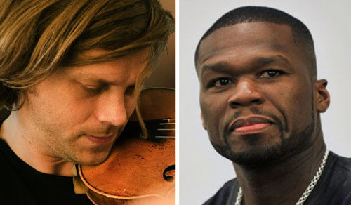"Violinist Eike and rapper ""50 Cent"""