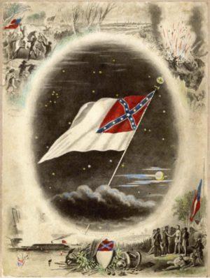 Confederate Flag with Battle Scenes, ca. 1875