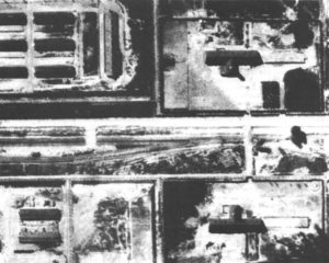 Enlargement of an Allied aerial reconnaissance photo of Auschwitz-Birkenau, taken on August 25, 1944. It shows no trace of piles of corpses, smoking crematory chimneys or masses of Jews awaiting death. A large blow-up of this photograph was displayed at the Weber-Shermer debate.