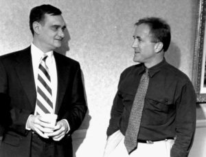 Weber and Shermer converse during a break at the Holocaust debate sponsored by the Institute for Historical Review.