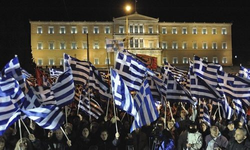Golden Dawn supporters held a massive protest in front of the Greek parliament.