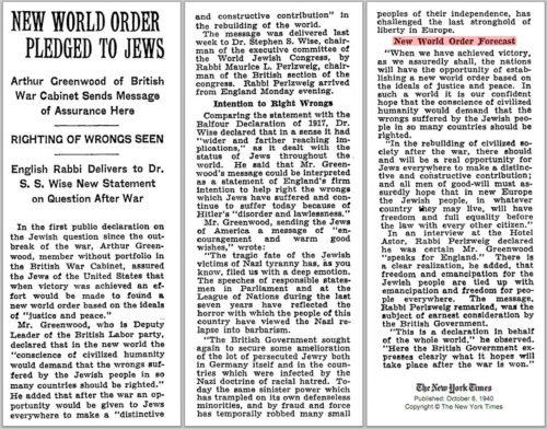1940 New World Order pledged to Jews
