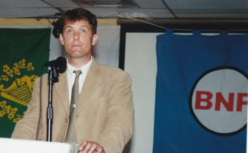 Richard Barnbrook addressing an AF-BNP meeting in Arlington, Virginia in August 2000. He attended the meeting with his American wife and her family.
