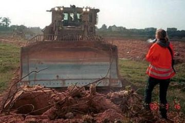 Rachel Corrie moments before her death, March 16, 2003