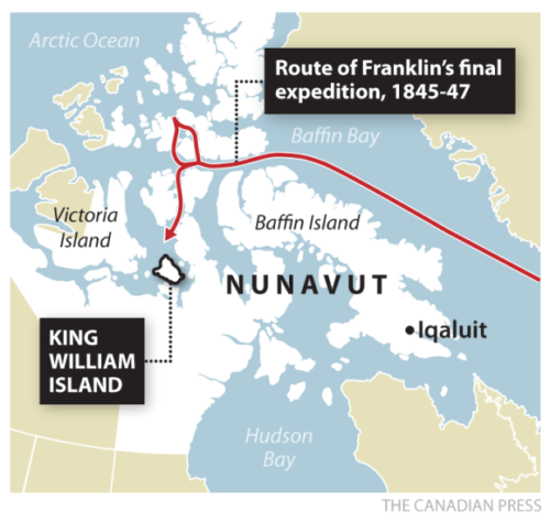 Shown is the route of Sir John Franklin's final expedition from 1845-47.