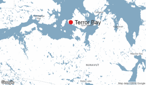 Terror Bay, where it is reported HMS Terror was found, sits on the south shore of Nunavut's King William Island. The Terror was abandoned north of the island, according to correspondence recovered by the expedition's crew.