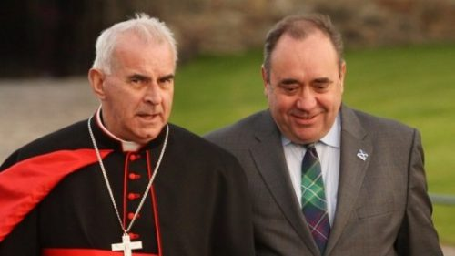 Cardinal Keith O'Brien, leader of Scotland's Catholics until his disgrace in a homosexual scandal, with former SNP leader Alex Salmond. Among the most significant changes in recent Scottish politics has seen many Scottish Catholics abandoning their traditional adherence to Labour.