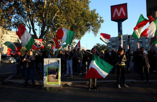 CasaPound demonstrators protest against asylum seekers in Italy