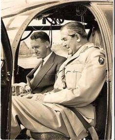 Premier Ian Smith, former RAF flying ace, with Brigadier Jock Anderson in a Alouette