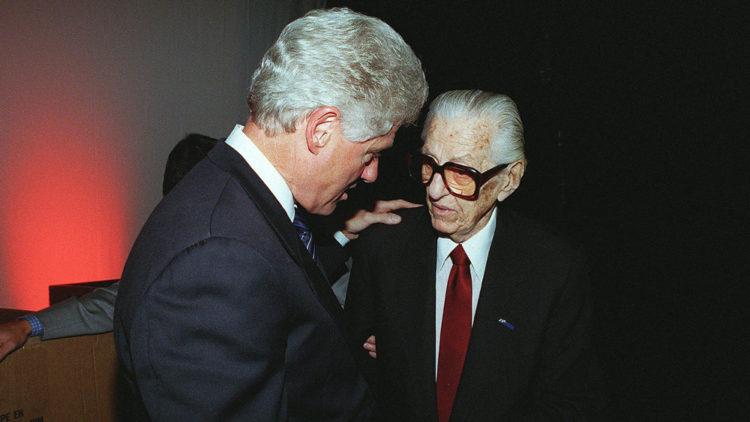 """Bill Clinton with Jewish """"rap"""" mogul Lew Wasserman"""