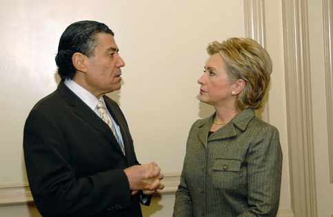 Haim Saban and Hillary Clinton