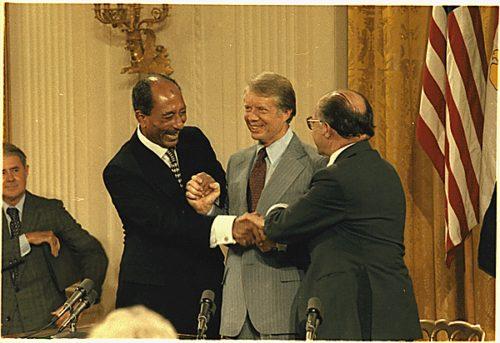 Anwar Sadat, Jimmy Carter and Menahem Begin at the Camp David Accords Signing Ceremony