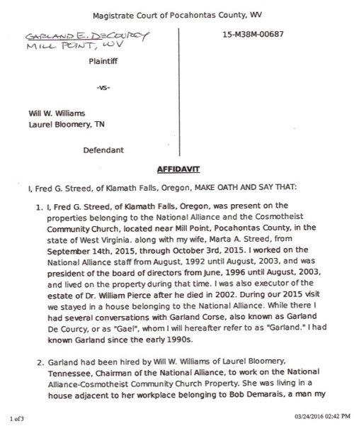 Fred's affidavit 1