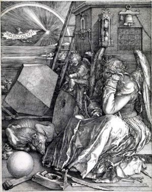 "Melencolia I by Albrecht Dürer, one of his finest works, was the cover art for the issue of National Vanguard in which this editorial appeared. The caption was ""Time for Ideas: Old Ways Cannot Win."" Click the image for higher resolution."