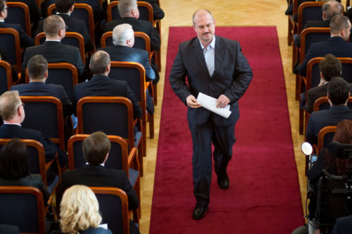 Marian Kotleba, the leader of the far-right People's Party-Our Slovakia, in March inside Parliament in Bratislava.