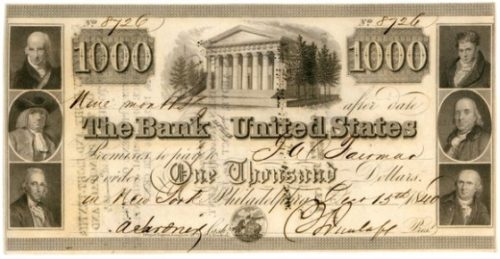 Bank Note from the Second Bank of the United States
