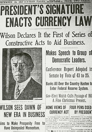News report of Wilson's signing the Federal Reserve Act. Under the Constitution, only a new Amendment could transfer the government's authority to create the currency to a private party.