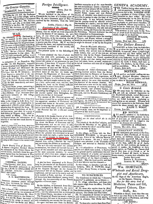 Geneva Gazette for July 1, 1812, reporting on the assassination of Spencer Perceval together with the declaration of the War of 1812
