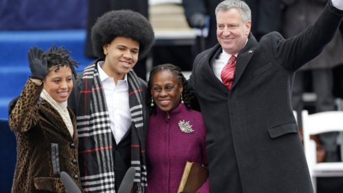 The Mayor of New York City, Bill de Blasio, and his family