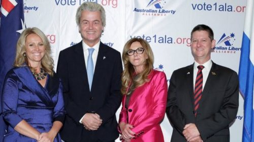 The launch of Australian Liberty Alliance in October 2015, with Dutch Freedom Party leader Geert Wilders (second left)