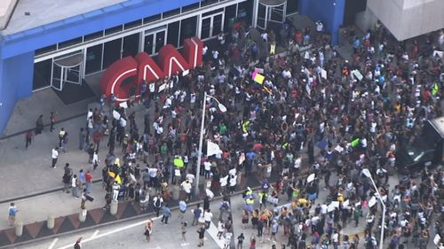 Black BLM mob surges at CNN headquarters