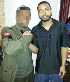 Killer Micah Johnson poses with man wearing Black militant garb with Africa patch. Will the tricolor Africa flag and related symbols now be attacked and banned as was the Confederate flag?
