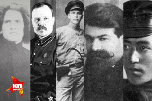 More killers, from left to right: Peter Ermakov, Mikhail Medvedev (Kudrin), Pavel Medvedev, Yakov Yurovsky, and Grigory Nikulin.
