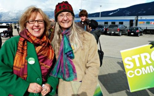 Monika Schaefer, a former Green Party candidate, with Elizabeth May