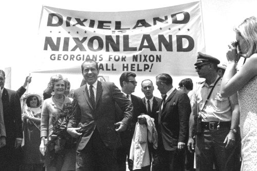 "Nixon's ""southern strategy"" in 1968 permanently won the Segregationist vote for the Republicans."
