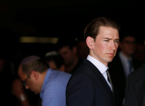 Austrian Foreign Minister Sebastian Kurz leaves after a ceremony in the Hall of Remembrance at Yad Vashem Holocaust Memorial in Jerusalem