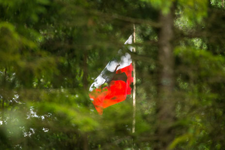 Sturmvogel flag flies over the forest camp