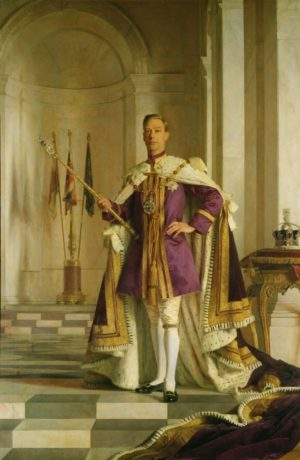 Portrait of King George VI by Sir Gerald Kelly, painted sometime between 1938 and 1945. He is holding the Sceptre with the Cross, containing a 530-carat diamond cut from the Cullinan Diamond