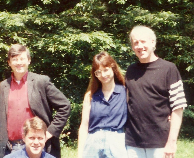 Joseph Pryce, far right, with his wife Patti, Will Williams, lower left, and Kevin Strom on The Land in 1992.
