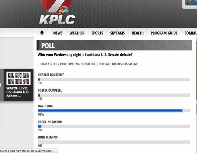KPLC-TV poll indicates David Duke was considered the winner of the debate by a large margin