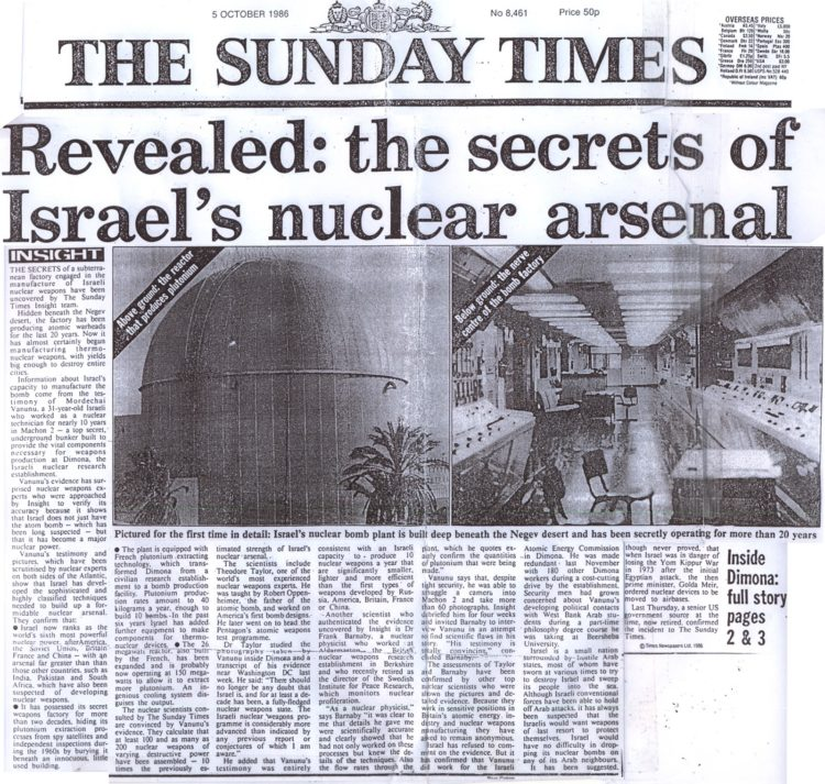 ISRAEL NUCLEAR ARSENAL Thesundaytimes-750x713