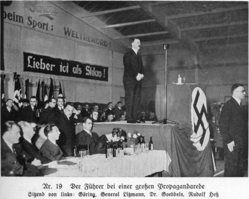 Photo source: Haake, Heinz. Das Ehrenbuch des Führers: Der Weg zur Volksgemeinſchaft. (Friedrich Floeder Verlag, Dusseldorf.) Bild [Picture] Nr. 19, p. 64 [PDF sheet 79]. This book is invaluable even for those who do not read German; for each picture therein is worth ten thousand words. See also Mein Kampf, Vol. 1 Ch. 12., in the discussion of Ernst Pöhner (p. 403 of the German Fraktur edition).
